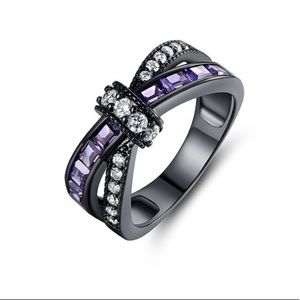 Black & Purple Cubic Zirconia Crisscross Ring